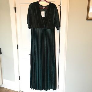 ASOS Curve Green Velvet Maxi Dress with Sleeves